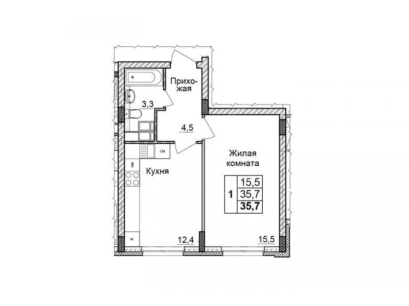 однокомнатная квартира в границах улиц имени Маршала Рокоссовского, Генерала Ивлиева, Казанское шоссе, дом №23